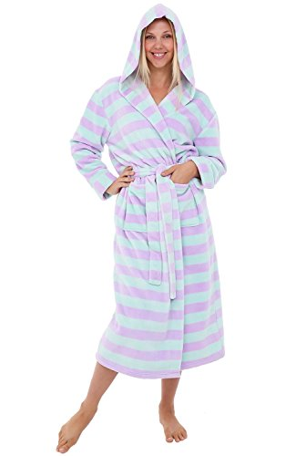 Alexander Del Rossa Womens Plush Fleece Robe with Hood, 1X 2X Green and Purple Striped (A0116P112X) ()