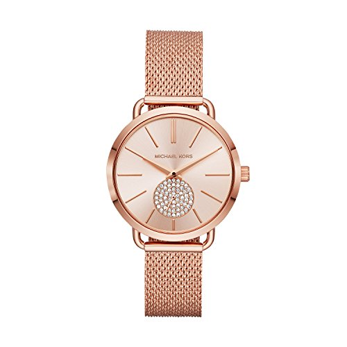 Michael Kors Women's Portia Analog-Quartz Watch with Stainless-Steel Strap, Rose Gold, 16 (Model: MK3845