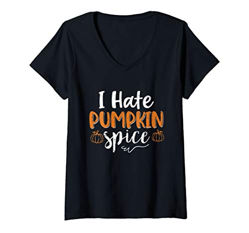 Pumpkin Spice Costume (Womens I Hate Pumpkin Spice Funny Halloween Costume Gift  V-Neck)