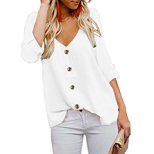 - 〓COOlCCI〓2019 New Women's Button Down V Neck Tops Loose Casual 3/4 Sleeve Short Sleeve Shirts Blouses T-Shirts Tees White
