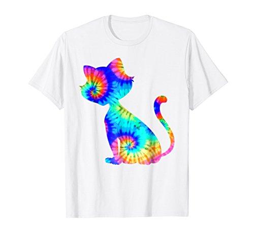 Colorful Tye Dye Kitten T-Shirt (Boys Blue Tie Dye)