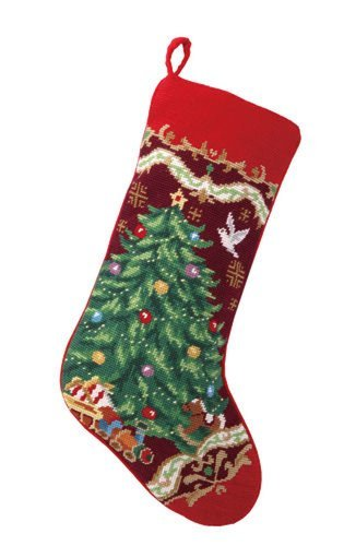Christmas Tree with Toy Train Stocking, Wool Needlepoint, 11 Inch X 18 Inch by PHI