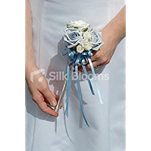 Ivory & Cornflower Blue Flower Girl Wand with Blue Pull bow 54