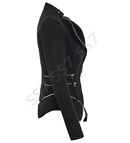 SS7 noir femmes Faux 10 12 motard gris Femmes 8 14 Noir rose Veste taille Daim UqUZFxRrw