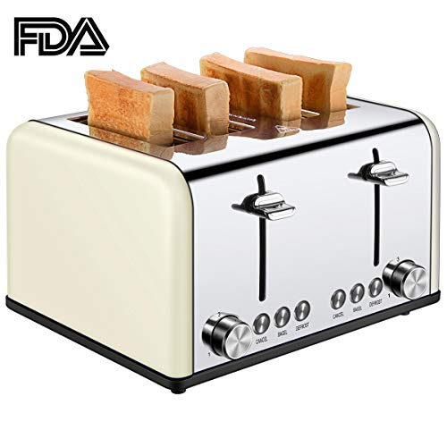 4 Slice Toaster, CUSIBOX Extra Wide Slots Bagel Toaster Stainless Steel with 6 Bread Browning Settings, BAGEL/DEFROST/CANCEL Function, 1650W, Cream