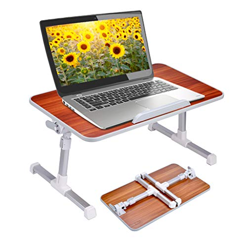 Neetto Laptop Height Adjustable Bed Table , Portable Lap Desk with Foldable Legs, Breakfast Tray for Eating, Notebook Computer Stand for Reading Writing on Bed