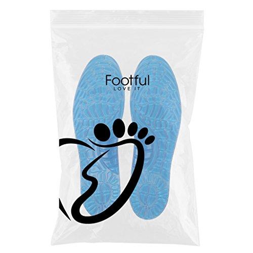 MagiDeal 1 Paar Unisex Silikon Gel Atmungsaktive Schuhe Einlegesohlen Schaumstoff für Sportschuhe - Blau, L