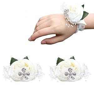 WIFELAI-A Wrist Corsage Wedding Bridal Corsage Hand Wrist Band Flowers with Elastic Bridesmaid Wrist Flower Corsage for Wedding, Prom, Party 81