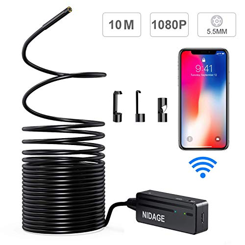 (Wireless Endoscope Camera, NIDAGE WiFi 5.5mm 1080P HD Borescope Inspection Camera for iPhone Android, 2MP Semi-Rigid Snake Camera for Inspecting Motor Engine Sewer Pipe Vehicle (33FT))