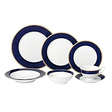 Lorren Home Trends 28 Piece 'Midnight' Bone China Dinnerware Set (Service for 4 People), Blue