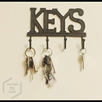 con tornillos y anclas Gancho de llave de hierro fundido occidental r/ústico Soporte de llave Llaves Gancho de llave montado en la pared Estante de organizador de llave decorativo con 4 ganchos Marr/ón