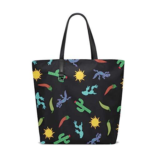 Price comparison product image Cactus Gecko Chili Cartoon Tote Bag Purse Handbag Womens Gym Yoga Bags for Girls