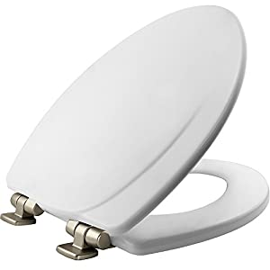 MAYFAIR Toilet Seat with Chrome Hinges will Slow Close and Never Come Loose, ELONGATED, Durable Enameled Wood, White, 130NISLB 000