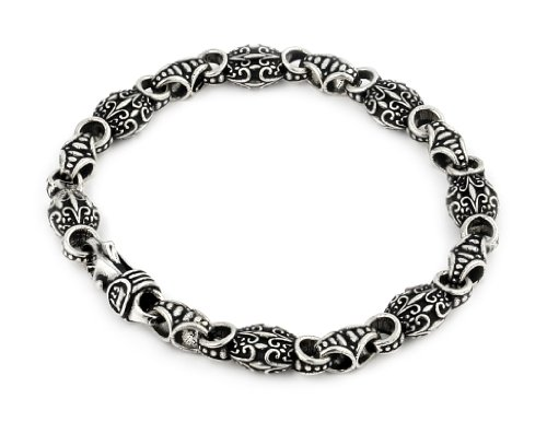 Twisted Blade 925 Sterling Silver Intricate Oval Link Bracelet 7'' by Buy For Less
