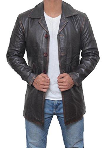 BlingSoul Brown Leather Jacket Men - Distressed Leather Jackets for Men