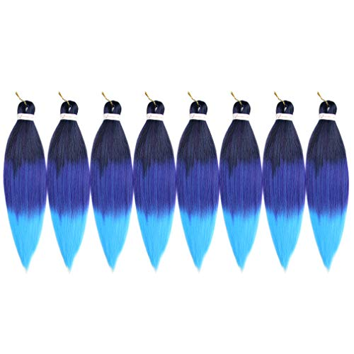 """Lady Corner Pre-Stretched Braiding Hair Omber 26""""-8 Packs Long Itch Free Hot Water Setting Synthetic Fiber Crochet Braiding Hair Extension (26inch, 1b/royal blue/light blue)"""