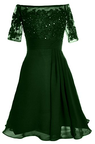 MACloth Women Off Shoulder Mother of Bride Dress with Sleeve Midi Cocktail Dress Verde Oscuro