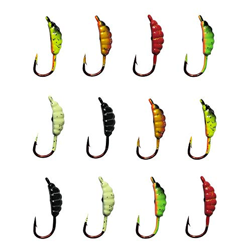 - Ice Fishing Jigs Fishing Bait Jigging Lures Kit Winter Metal Lures (0.86inch/0.06oz-12pcs)