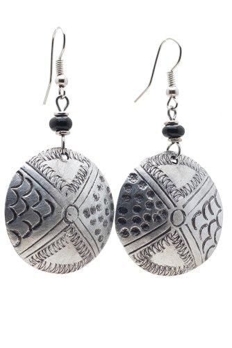 Maisha Fair Trade Hand Hammered Antiqued Small Circle Drop Earring