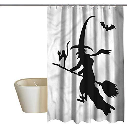 RenteriaDecor Shower Curtains Tumblr Witch,Monochrome Halloween Symbol,W72 x