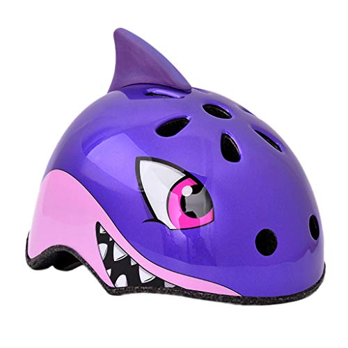 Gbell Kids Bike Helmets,Light City Road Cycling Helmets Outdoor Riding Skating Scooter Protection Helmets for Girls Boys,Birthday Gifts,Blue Red Black Purple Dino Shark Unicorn Helmets (Purple)