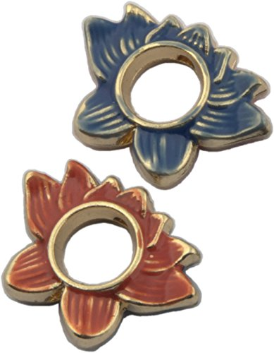 Bead, Cloisonne Lotus Flower Pendant Bead - 20mm ()