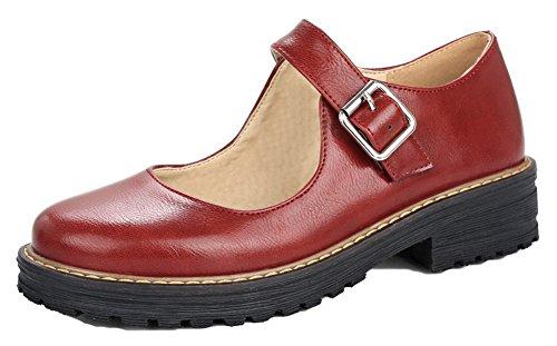 Amoonyfashion Damesschoenen Met Ronde Neus En Hak Pu Stevige Pumps-schoenen Rood