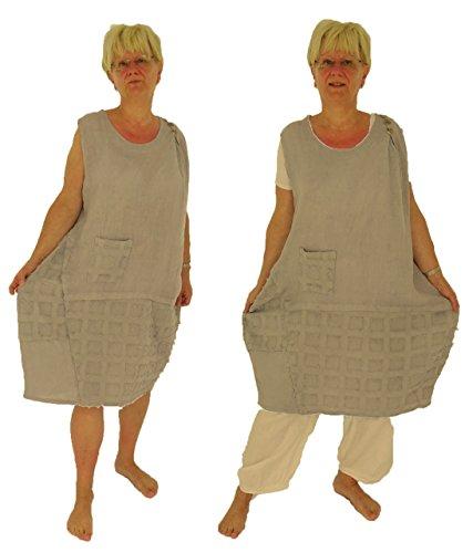 Mein Grau Tunika Kleid Lagenlook Leinen IB200 Damen de Design Mallorca 4Pr0q4z