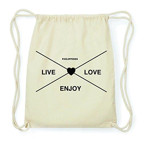 JOllify PHILIPPINES Hipster Turnbeutel Tasche Rucksack aus Baumwolle - Farbe: natur Design: Hipster Kreuz j0DUXmR