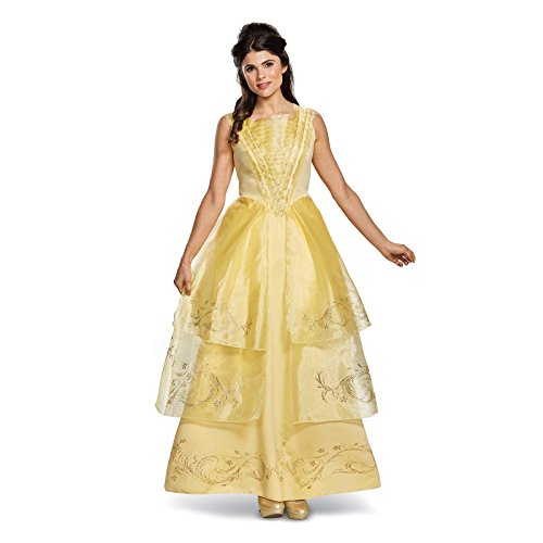 Disney Women's Plus Size Belle Ball Gown Deluxe Adult Costume, Yellow, (Belle Disney Adult Costume)