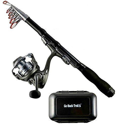 Fishing Rod Reel Kit – Ultralight Carbon Spinning Rod&Reel Combos with Pocket Tackle Box – Collapsible Telescoping Rod  Freshwater Ocean Saltwater Camping Travel Hiking Kayak&Backpacks
