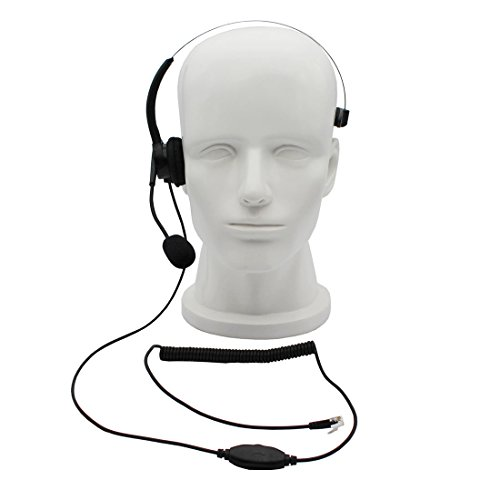 GoodQbuy Call Center Telephone /IP Phone Headset Headphone with Mic for Cisco IP Phones 7940 7941 7942 7945 7960 7961 7962 7931G 7962G 7965G and Plantronics M10 M12 Vista Modular ()