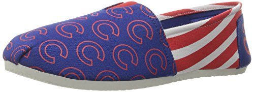 FOCO MLB Chicago Cubs Women's Canvas Stripe Shoes, Large (9-10), Blue