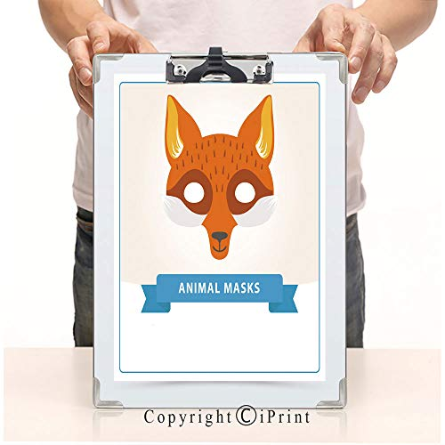 Custom Printing Clipboard,Hardboard Clipboard Pack, Aluminum,PVC,A4 Standard, Fox Role Play mask for Children s Theater or Birthday Party Cute Animal s Muzzle Flat Vector Design for invita ()