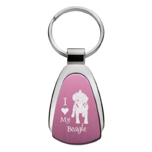 Beagle Keychain - Tear Drop Keychain - I Love My Beagle - Pink