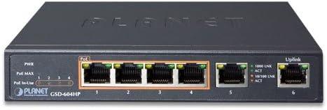 PoE supportant lalimentation via ce port Noir Connexion Ethernet Connexion E Planet GSD-604HP commutateur r/éseau G/ér/é Gigabit Ethernet G/ér/é, Gigabit Ethernet - Commutateurs r/éseaux 10//100//1000 10//100//1000