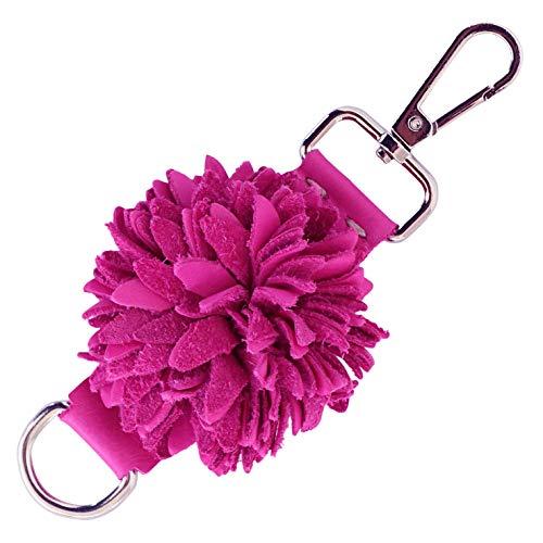 - Genuine Leather Handmade Pom Pom Charms   Key Ring Keychain   for Tassel Bags Purse Backpack (Fuchsia - Pom Pom)