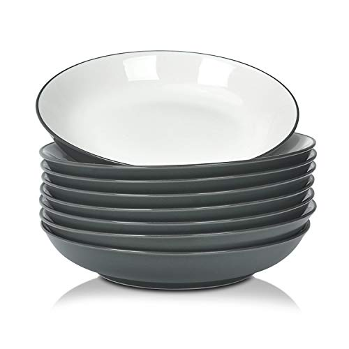 TGLBT Pasta/Salad Bowls 22 Ounce - Set of 8, Serving Bowl Set,Gray