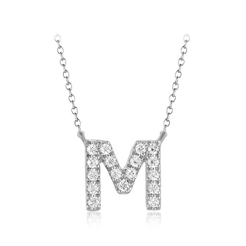 Carats For You 925 Sterling Silver 0.11 ct Brilliant Round Cut Genuine Real Natural Diamonds 'M' Initial Necklace Pendant with 18 inch chain for women