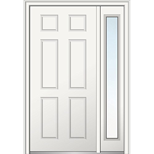 National Door Z029374R  Primed Right Hand In-swing, Prehung Front Door, 6-Panel, 36'' x 80'' with One 14'' Sidelite, Steel by National Door Company