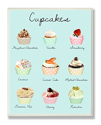 Stupell Home Décor Cupcakes Textual Kitchen Wall Plaque, 10 x 0.5 x 15, Proudly Made in USA
