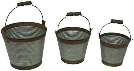 Corrugated Galvanized Metal 3 Piece Rustic Bucket Set Amazon Com Au Lawn Garden