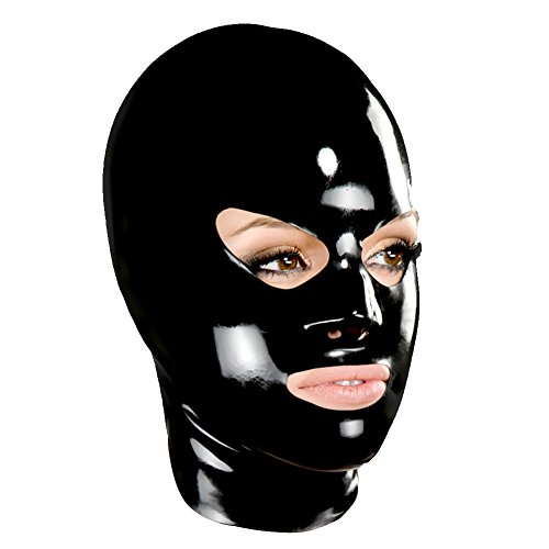 Rubber Hood - EXLATEX Unisex Latex Mask with Shaped Eyes Nose and Mouth Rubber Deadpool Hoods (Large, Black)