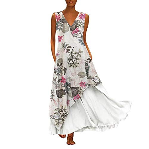 TIFENNY Plus Size Long Dress for Women Vintage Sleeveless V Neck Splicing Floral Printed Maxi Dress Loose Straight Dress