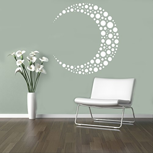 Moon Crescent Wall Decal Beautiful Ornaments Vinyl Sticker Geometric Shapes Home Interior Living Room Decor Door Stickers Window Decals Housewares Design Custom Decals 15(abs)