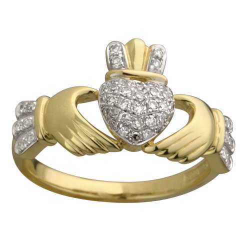 Claddagh Ring 14K Gold Micro Diamond (0.25 cts) Sz 10