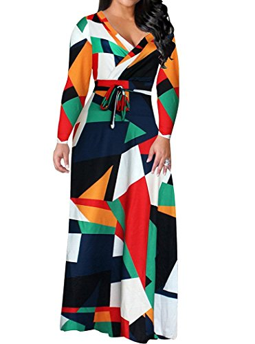 Locryz Women's V Neck 3/4 Sleeve Digital Floral Printed Party Loose Long Maxi Dress with Belt S-3XL (XXXL, Green)