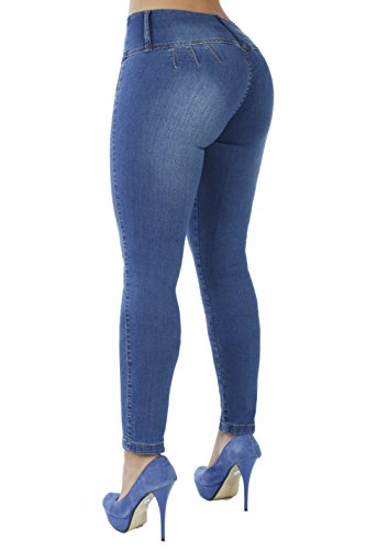Curvify Stretch Jean 767 - A Butt Lifting Skinny Jeans for Women - No Back Pockets (767, Faded Washed, 15)