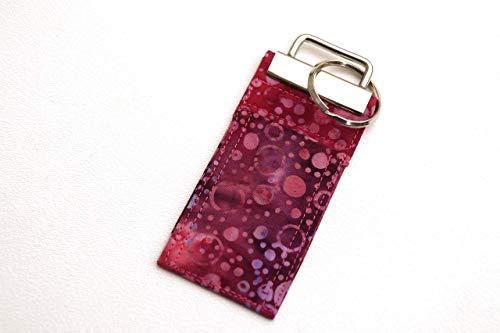 Batik Fabric Chap Stick Holder Key Chain in Pink Circles ()
