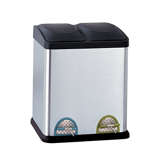 Organize It All Dual Compartment Step-On 8-Gallon (30 liter) Recycling Trash Can, Stainless Steel